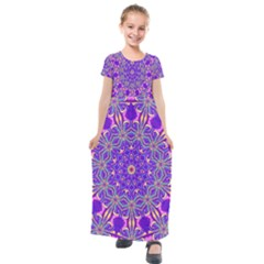 Abstract Art Abstract Background Kids  Short Sleeve Maxi Dress