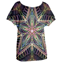 Star Mandala Pattern Design Doodle Women s Oversized Tee by Simbadda