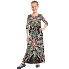 Star Mandala Pattern Design Doodle Kids  Quarter Sleeve Maxi Dress