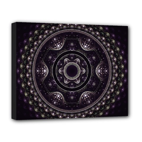 Fractal Mandala Circles Purple Deluxe Canvas 20  X 16  (stretched)