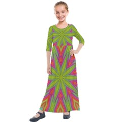 Pattern Art Abstract Art Abstract Background Kids  Quarter Sleeve Maxi Dress by Simbadda