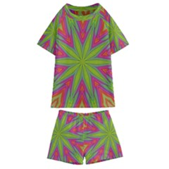 Pattern Art Abstract Art Abstract Background Kids  Swim Tee And Shorts Set by Simbadda