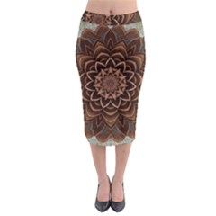 Abstract Art Texture Mandala Midi Pencil Skirt