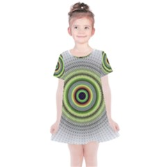 Fractal Mandala White Background Kids  Simple Cotton Dress