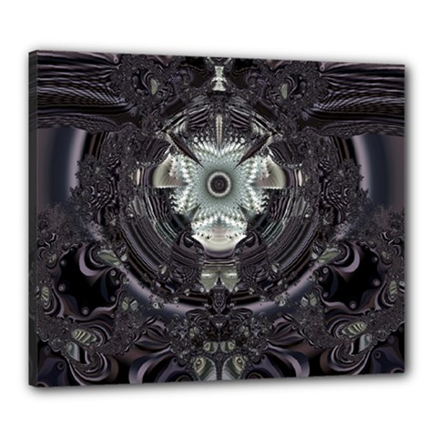 Black And White Fractal Art Artwork Design Canvas 24  X 20  (stretched)