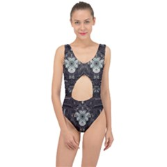 Black And White Fractal Art Artwork Design Center Cut Out Swimsuit