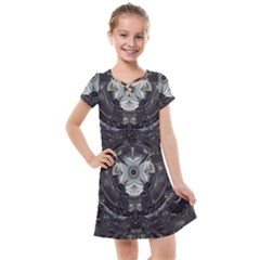 Black And White Fractal Art Artwork Design Kids  Cross Web Dress