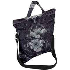 Black And White Fractal Art Artwork Design Fold Over Handle Tote Bag
