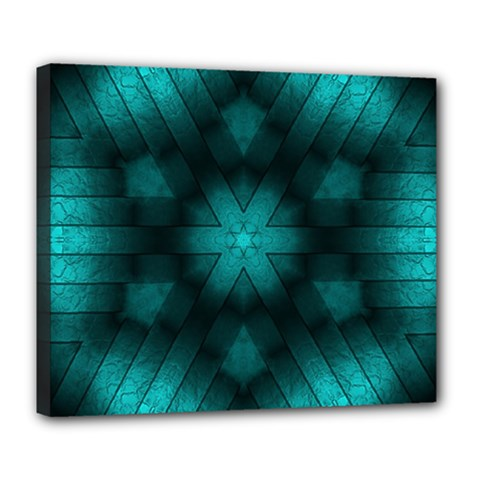 Abstract Pattern Black Green Deluxe Canvas 24  X 20  (stretched)