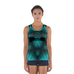 Abstract Pattern Black Green Sport Tank Top