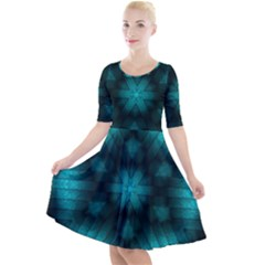 Abstract Pattern Black Green Quarter Sleeve A Line Dress