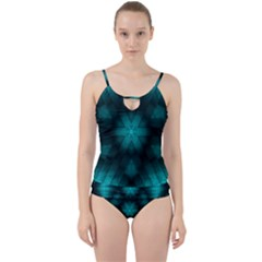 Abstract Pattern Black Green Cut Out Top Tankini Set by Simbadda