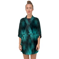 Abstract Pattern Black Green Half Sleeve Chiffon Kimono by Simbadda