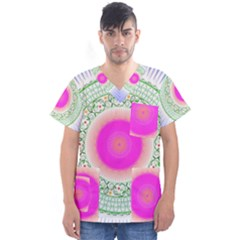Flower Abstract Floral Men s V Neck Scrub Top