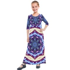 Mandala Art Design Pattern Kids  Quarter Sleeve Maxi Dress
