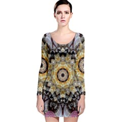 Abstract Art Texture Mandala Long Sleeve Bodycon Dress