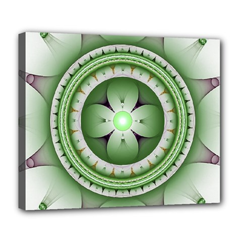 Ractal Mandala Green Purple Deluxe Canvas 24  X 20  (stretched)