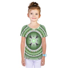 Ractal Mandala Green Purple Kids  One Piece Tee