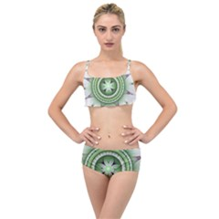Ractal Mandala Green Purple Layered Top Bikini Set