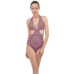 Abstract Art Abstract Background Art Pattern Halter Front Plunge Swimsuit