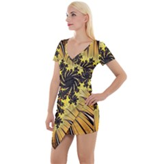 Fractal Art Colorful Pattern Short Sleeve Asymmetric Mini Dress by Simbadda