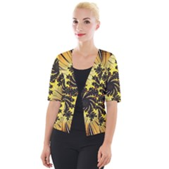 Fractal Art Colorful Pattern Cropped Button Cardigan