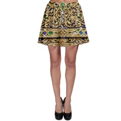 Gold Pattern Decoration Golden Skater Skirt by Simbadda