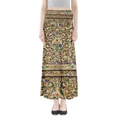 Gold Pattern Decoration Golden Full Length Maxi Skirt