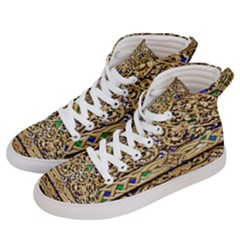 Gold Pattern Decoration Golden Women s Hi Top Skate Sneakers by Simbadda