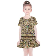 Gold Pattern Decoration Golden Kids  Simple Cotton Dress by Simbadda