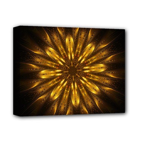 Mandala Gold Golden Fractal Deluxe Canvas 14  X 11  (stretched)