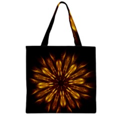 Mandala Gold Golden Fractal Zipper Grocery Tote Bag