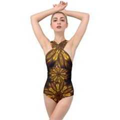 Mandala Gold Golden Fractal Cross Front Low Back Swimsuit