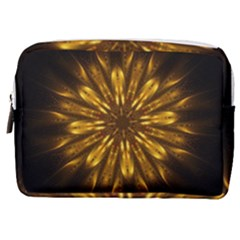 Mandala Gold Golden Fractal Make Up Pouch (medium) by Simbadda