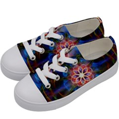 Mandala Pattern Kaleidoscope Kids  Low Top Canvas Sneakers by Simbadda