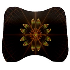 Fractal Floral Mandala Abstract Velour Head Support Cushion by Simbadda