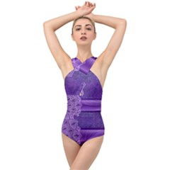 Background Mandala Purple Ribbon Cross Front Low Back Swimsuit by Simbadda