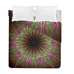 Julian Star Star Fun Green Violet Duvet Cover Double Side (full/ Double Size) by Simbadda