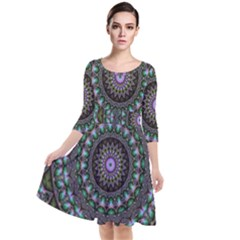 Fractal Kaleidoscope Mandala Quarter Sleeve Waist Band Dress
