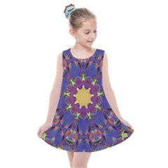 Abstract Art Artistic Texture Blue Kids  Summer Dress by Simbadda
