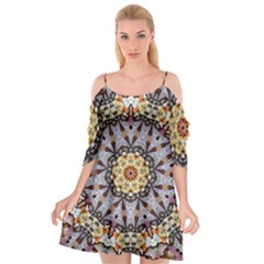 Abstract Art Texture Mandala Cutout Spaghetti Strap Chiffon Dress
