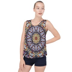 Abstract Art Texture Mandala Bubble Hem Chiffon Tank Top