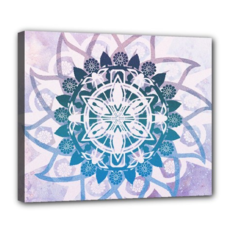 Mandalas Symmetry Meditation Round Deluxe Canvas 24  X 20  (stretched) by Simbadda