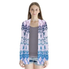Mandalas Symmetry Meditation Round Drape Collar Cardigan by Simbadda