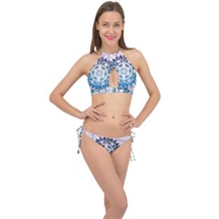 Mandalas Symmetry Meditation Round Cross Front Halter Bikini Set