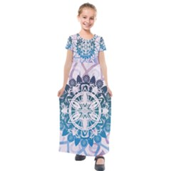 Mandalas Symmetry Meditation Round Kids  Short Sleeve Maxi Dress by Simbadda