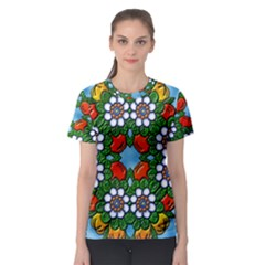 Mandala Background Colorful Pattern Women s Sport Mesh Tee by Simbadda