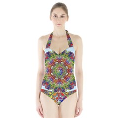 Mandala Pattern Ornaments Structure Halter Swimsuit by Simbadda