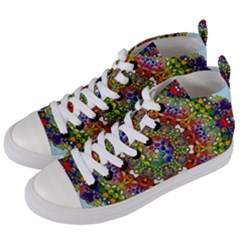 Mandala Pattern Ornaments Structure Women s Mid-top Canvas Sneakers by Simbadda