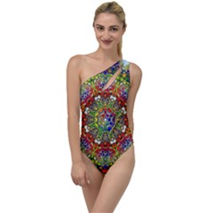 Mandala Pattern Ornaments Structure To One Side Swimsuit